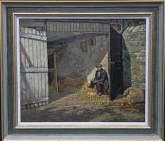 Apple Pickers - British 20's Impressionist oil painting barn interior farming