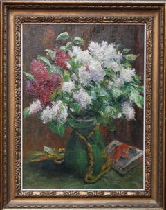 Still life - French-German 20's Impressionist School oil painting Floral lilac