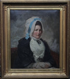 Portrait of a Lady - Old Master British oil painting woman bonnet blue ribbon