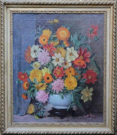 Gay Companions - Scottish 20's oil painting still life floral orange pink red