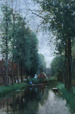 Boating on the Canal - Dutch painting 19thC Hague School canalscape boats summer
