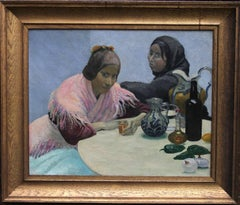Two Women in a Cafe - British 30's oil painting Spain jugs drink pink art