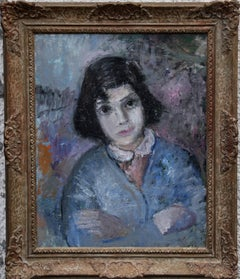 Girl in Blue - British Impressionist 50's oil painting pink purple female artist