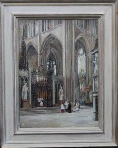 Church Interior Taking Mass - 19th C British Impressionist oil painting religion