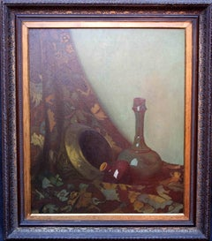 Still life with Vase - British 30's oil painting vase brass pot colourful cloth