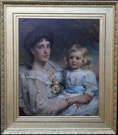 Portrait of Mother and Son - British 19thC oil painting Selina Grace child art