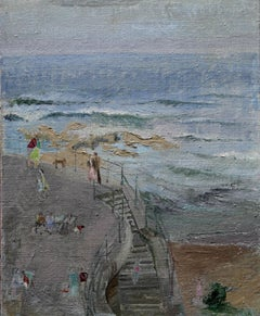 Newcastle - Whitley Bay - British Impressionist oil painting promenade beach sea