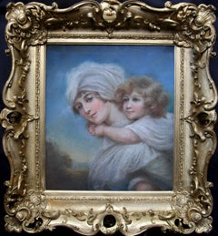 Woman and Child - Old Master Regency portrait painting Mother carrying infant