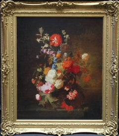Floral Arrangement - Old Master British oil painting stil life flowers pink red