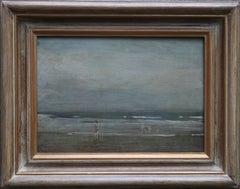 Bathers on Seashore - Irish 40's Impressionist oil painting marine seascape wave