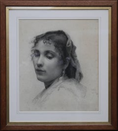 Portrait of a Lady - French 19thC Realist drawing woman covered head choker art