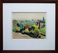 London from Hampstead Heath - 30's Irish artist landscape painting city roof top