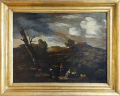 Arcadian Italian Landscape - Old Master French oil painting herdsman sheep goats