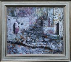 Spanish Wedding - British 50's oil painting bride cobbled street  female artist