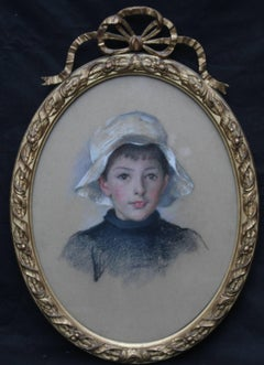Portrait of Henry James Bath -  Welsh female artist boy white hat - Edwardian