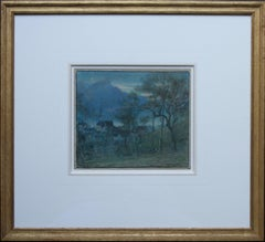 Nocturne Altdorf - British artist 20's watercolour Swiss village mountains moon