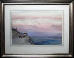 Andes Mountains - French 19thC Post Impressionist Peru mountains animals cart