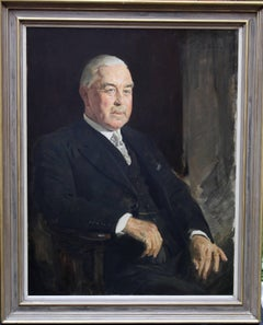 Portrait of a Gentleman - British 30's oil painting seated man