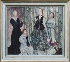 The Fitting - British 30's Impressionist oil painting ladies interior fitting