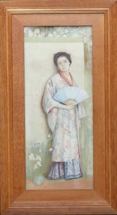 Japanese Lady - Scottish 19thC Pre-Raphaelite standing portrait oil painting