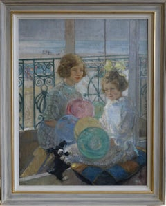 Seaside Portrait - Art deco oil painting little girls balloons dog beach seaside