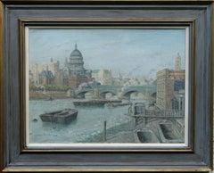 London River Thames - British 50's oil painting cityscape St Paul's bridge