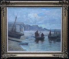 St Ives Harbour -British female artist 1912 oil painting Cornish marinescape art