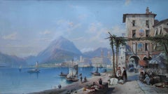 Bay of Naples - British 19thC oil painting marinescape market stall architecture