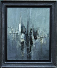 Sails Grey Sea - French 50's figurative abstract oil painting seascape boats
