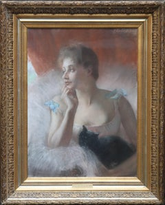 Ballet Dancer with Black Cat - French 19thC Impressionist oil painting portrait