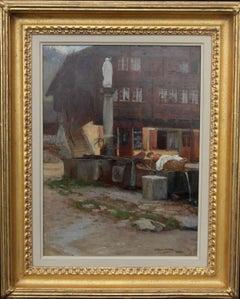 Wassen Switzerland - British Impressionist oil painting village women laundry