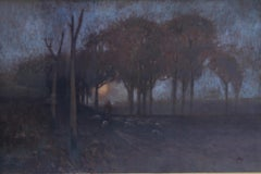 Australian Sunset-Impressionist 19thC landscape Australian artist sheep nocturne
