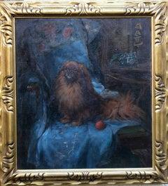 Pekingese - British Art Deco oil painting dog portrait interior chair ball blue