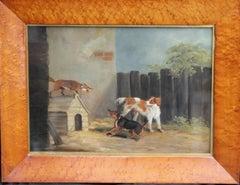 Fox on Dog Kennel - British 19thC oil painting animals interior sport hunt art