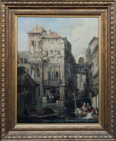Venice - British Victorian oil painting architecture Italy women laundry art