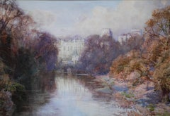 Warwick Castle - British early 20thC painting riverscape trees monument autumn