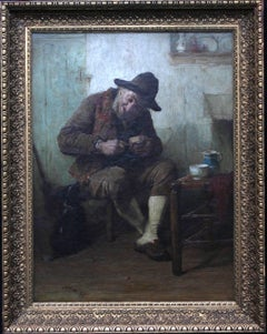 Expectations - Victorian Scottish oil painting dog man interior art