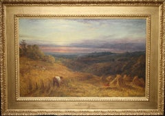 Harvest Time - Surrey Landscape - Victorian British oil painting sunset fields