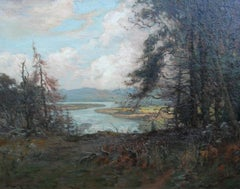 River Landscape- Scottish 19thC Impressionist oil painting figure observing view