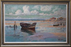 Left by the Tide- British 19thC Impressionist oil painting beachscape boat blue