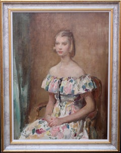 Portrait of a Young Lady Hands Crossed - British 20's Impressionist oil painting