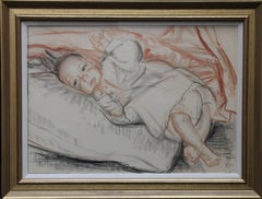 Portrait of a Baby- British 30's charcoal chalk drawing child infant female art