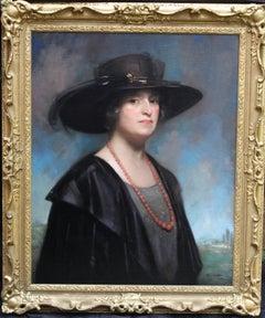 Portrait of Mrs French - Scottish 20's oil painting lady black hat landscape art