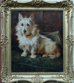 Portrait Terrier - British animal artist oil painting seated dog. Early 20thC