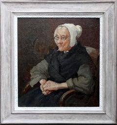 French Breton Lady - British 19thC Post Impressionist oil painting portrait