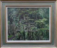 Back Garden Garlochead - Scottish 40's Glasgow artist Impressionist oil painting