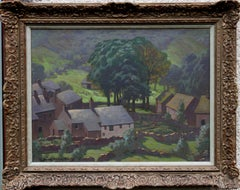 Lake District - British 30's Post Impressionist oil painting valley farm fields