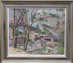Industrial Landscape- British 40's Impressionist oil painting architecture trees