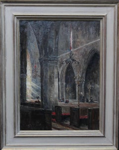At Prayer - British 19thC Impressionist oil painting Amiens Cathedral interior