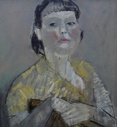 Portrait, Lady in Yellow - British 50's Impressionist oil painting female artist